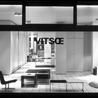 Furniture displayed in the window of Vitsœ's previous Frankfurt shop