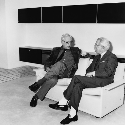 Dieter Rams and Niels Vitsœ sitting together on the 620 Chair Programme