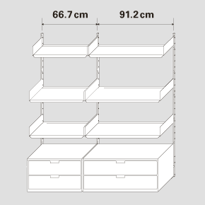 A drawing of 66.7cm and 91.2cm width bays