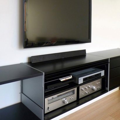 TV stand entertainment centre and media cabinets. Modular shelving system, strong metal, wall mounted. Open back for electronics and cables