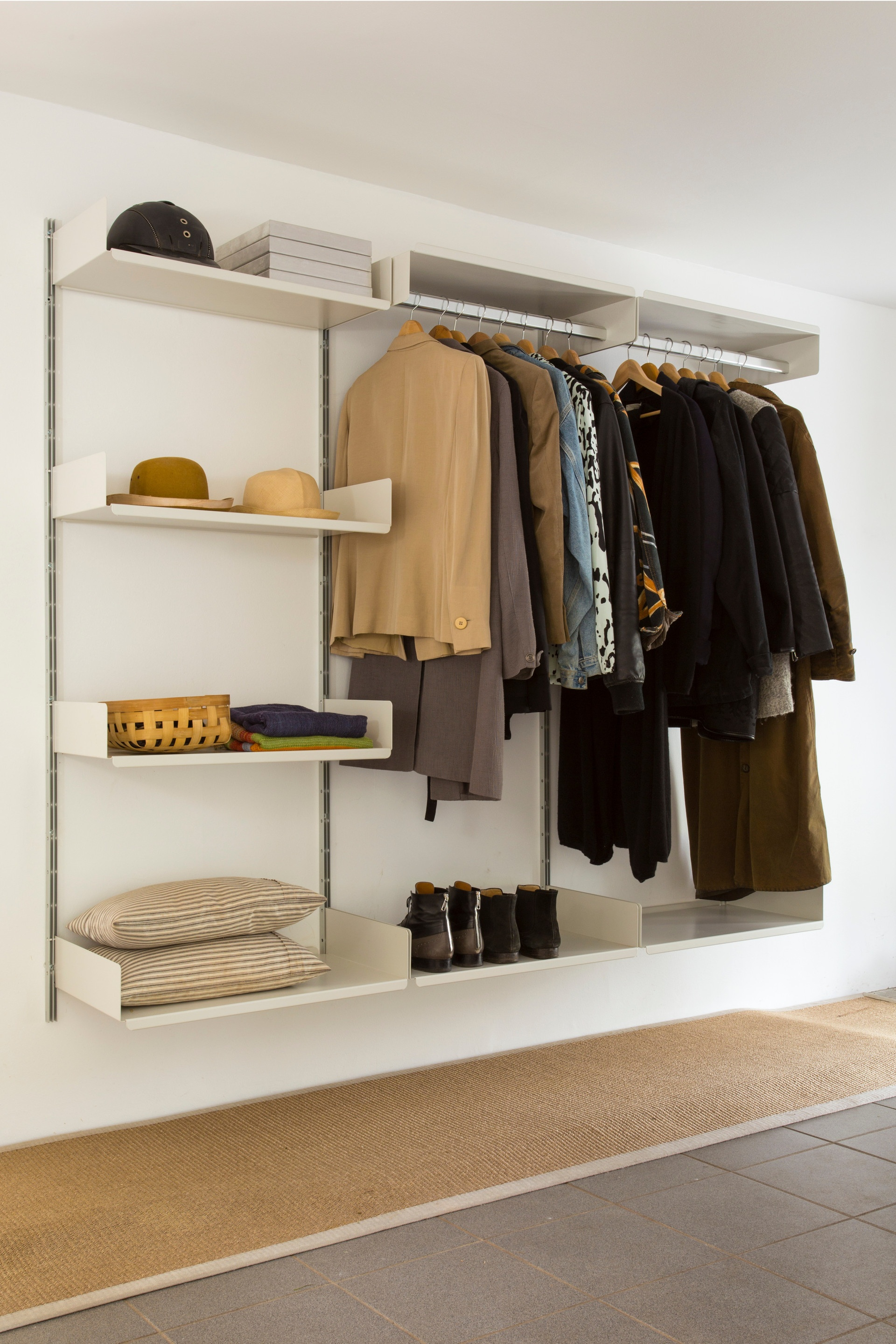 Hanging rails for coats; shelves for shoes and hats