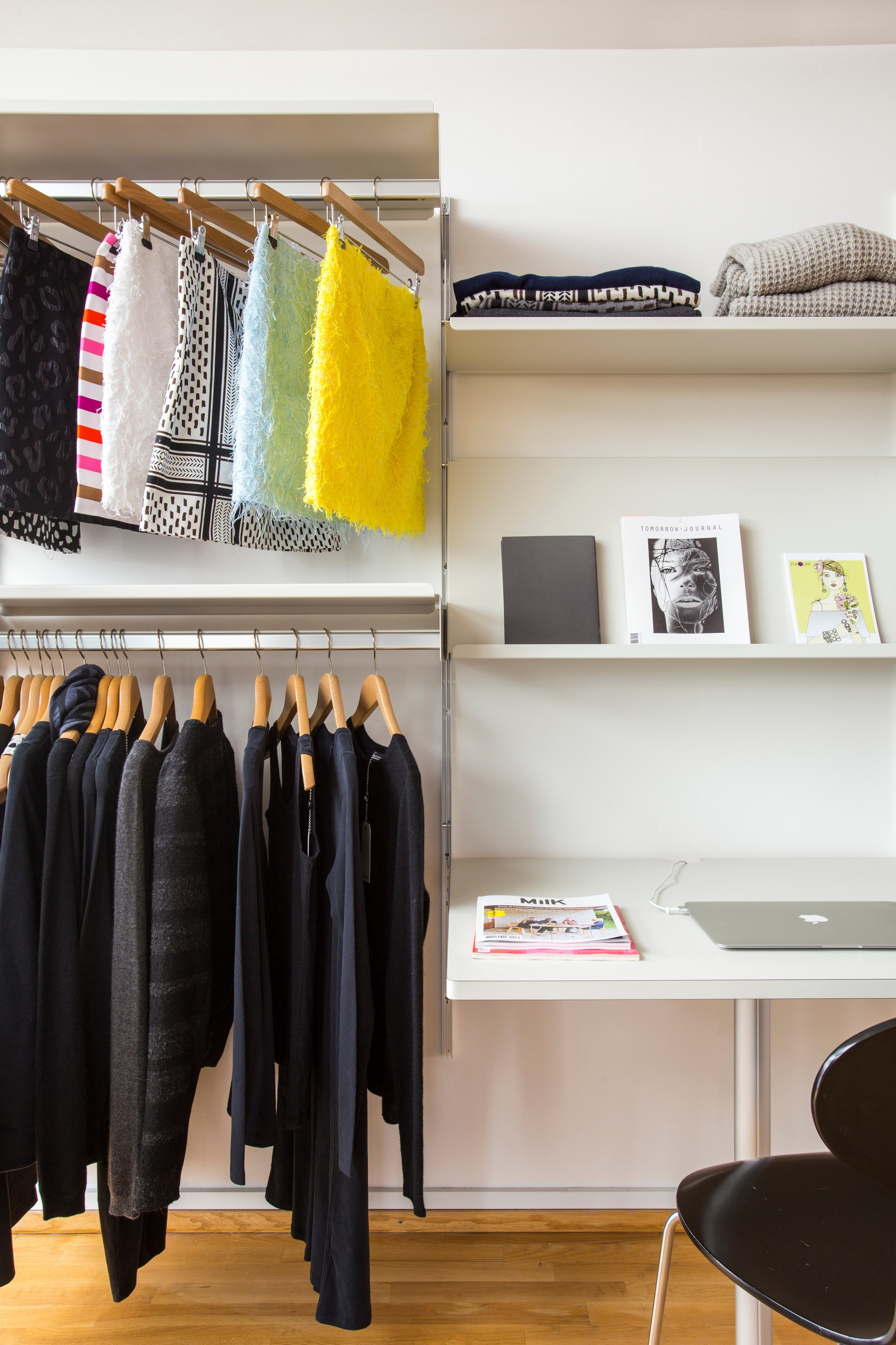 Teenage bedroom or fashion showroom? Our adaptable shelving system has no preference.  See more shelving for shops