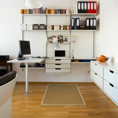 Computer desk for home office, workstation. Modular shelving system, strong shelves above for box-files and heavy books, wall mounted sideboard cabinet,
