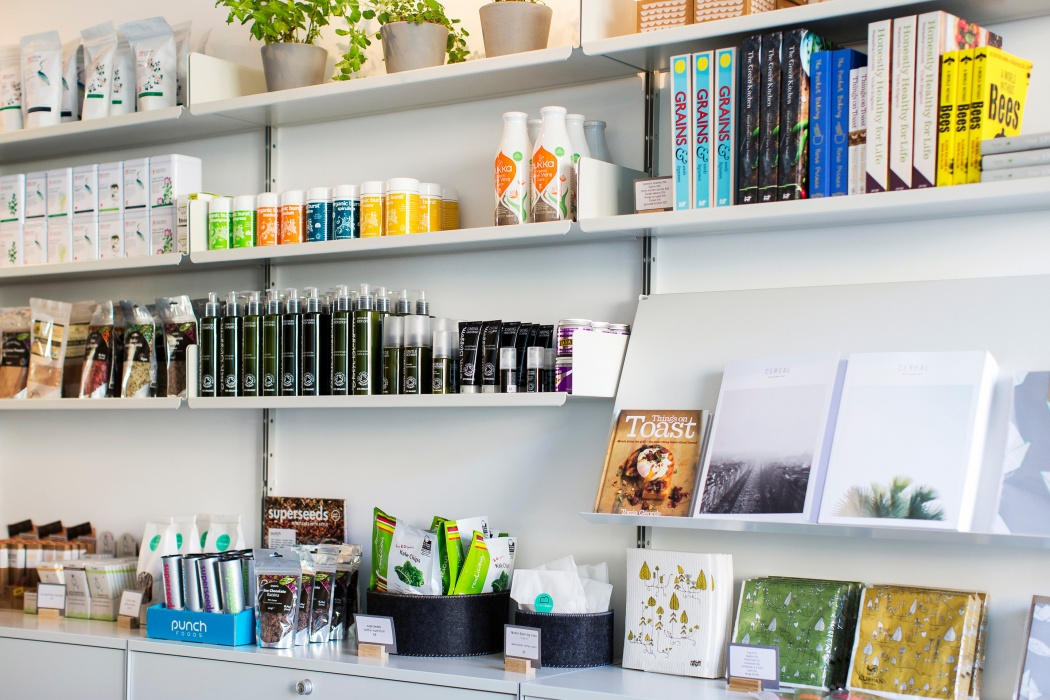 Sloping shelf allows face-on book display. Retailers know that this sells books