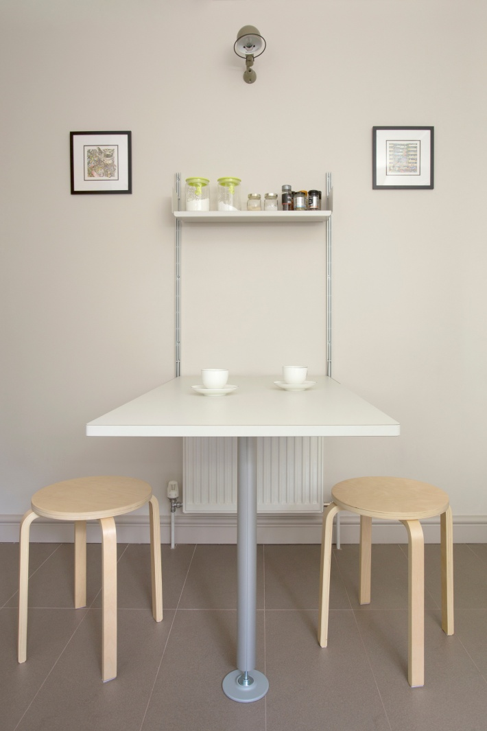Two E-Tracks, one shelf and one integrated table; coffee is served