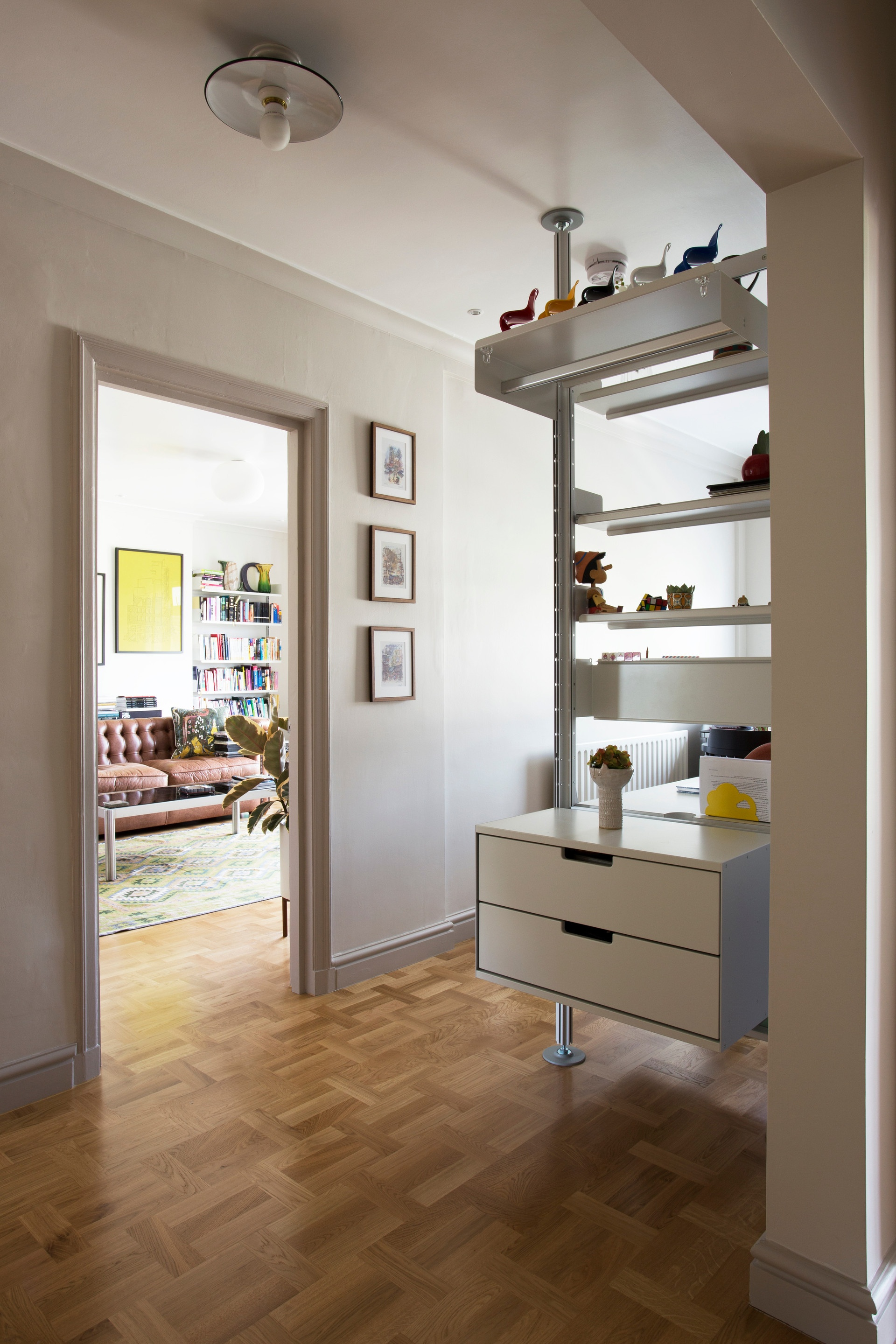 If there's no wall space in your hallway, the system may be compressed between floor and ceiling