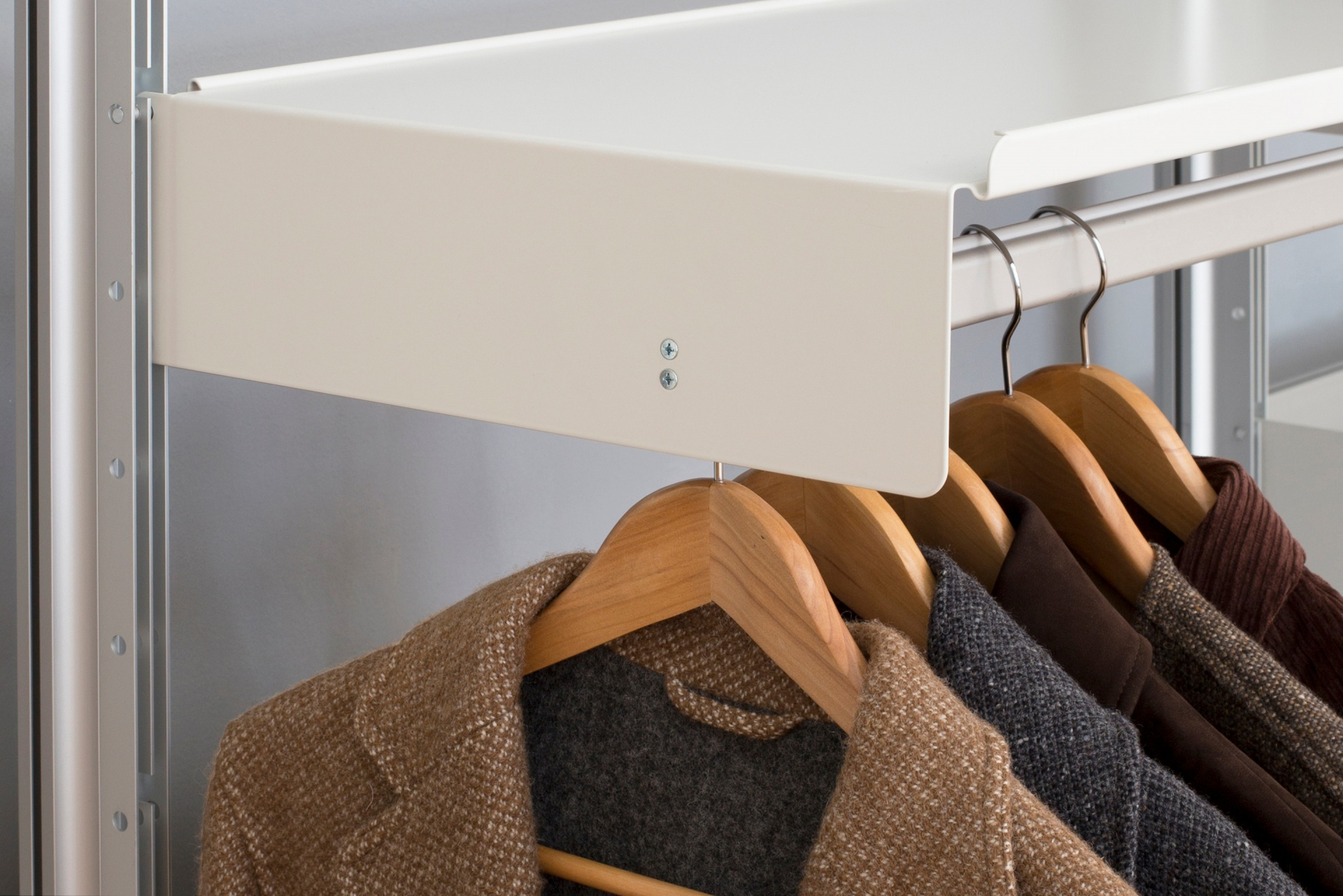 The shelf with hanging rail works well in the wardrobe or hallway