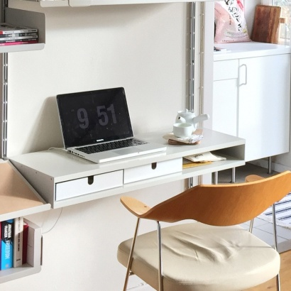 Computer desk and designer shelves. Modular shelving system, strong metal,  flexible home workstation.