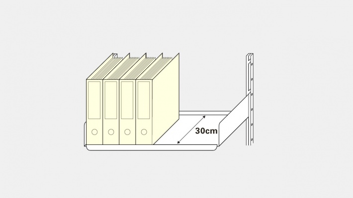 A 30cm shelf with files stored on it