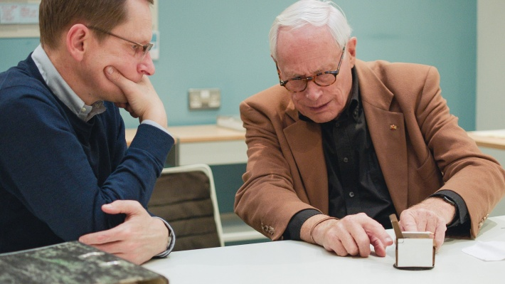 Dieter Rams and Mark Adams at Vitsœ HQ during filming