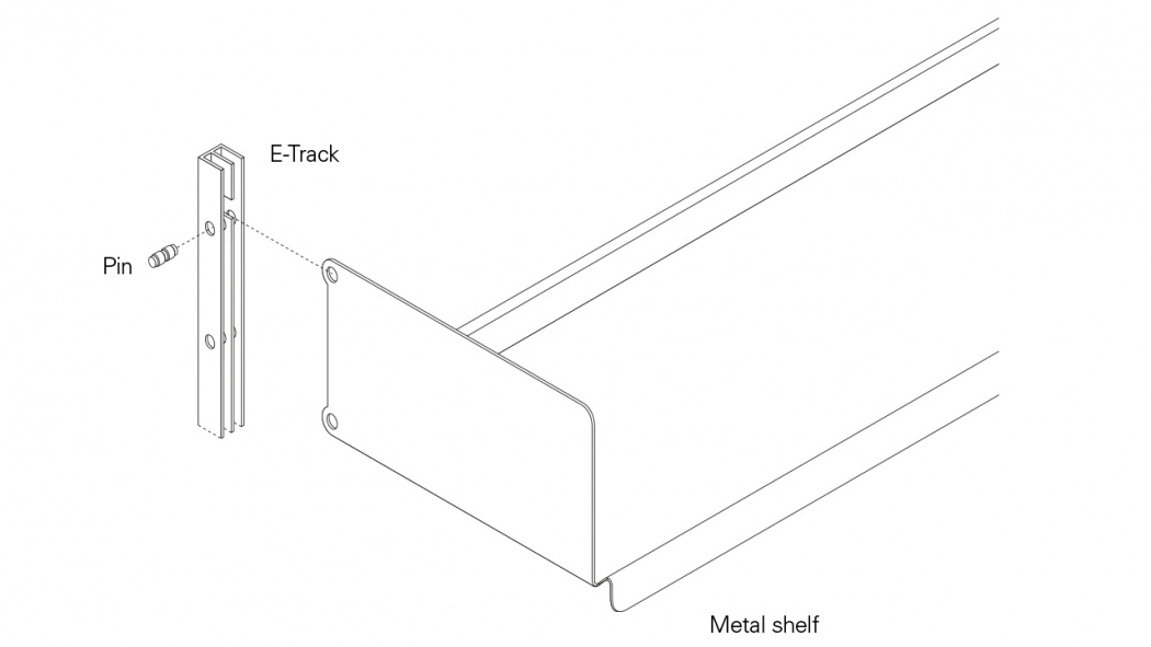 Diagram showing how the E-track, pin and metal shelf fit together
