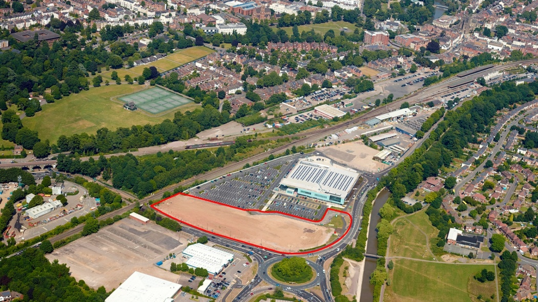 Vitsœ's 3.3 acre site in Royal Leamington Spa, outlined red