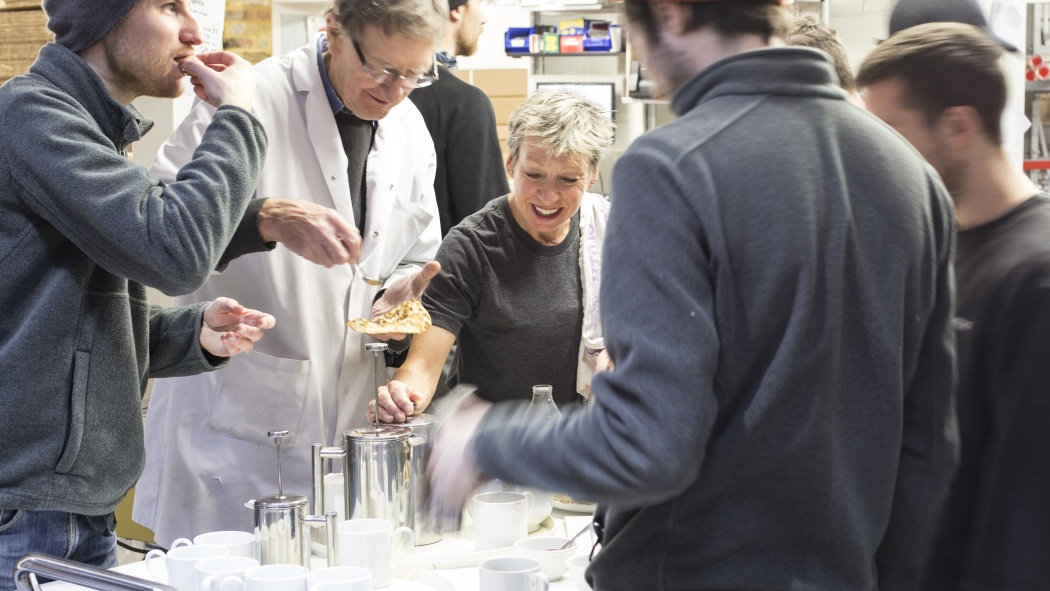Sandy making workshop tea at the Vitsœ workshop in 2017