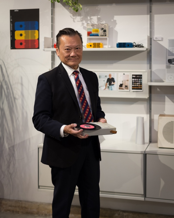 JF Chen with a Braun TP 1 portable record player by Dieter Rams © Vitsoe