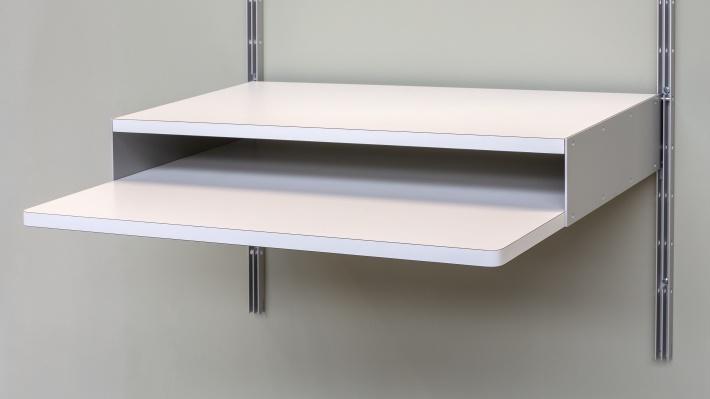Floating desk shelf. Modular 606 universal shelving system. Designer Dieter Rams