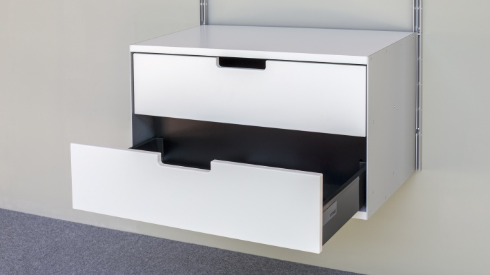 Two drawer, 2d, 606 Cabinet, open drawers