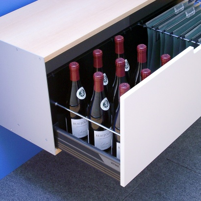 One drawer, 1d, 606 Cabinet holding wine bottles, rail files