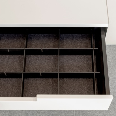wall mounted cabinet with anti-slide liner and object divider and organiser accessories