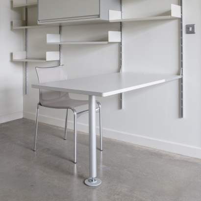 Modular Shelving above desk for home or office. wall mounted strong shelves for box-file storage, books.  Designer Dieter Ram