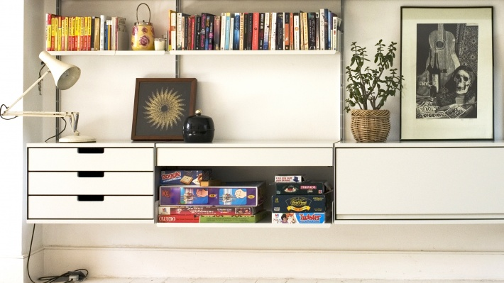 TV stand with bookshelves and floating cabinets, vinyl record storage designer shelves