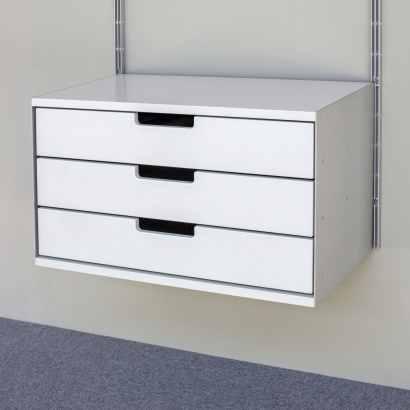 Three drawer, 3d, 606 Cabinet, designed by Dieter Rams