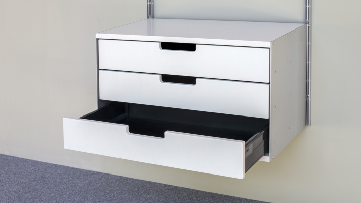 Three drawer, 3d, 606 Cabinet, open drawers