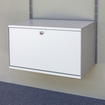 Fold down door, FDD, with lock, 606 Cabinet. Designed by Dieter Rams