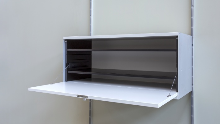 wall mounted locker cabinet with internal shelf to divide space and organise