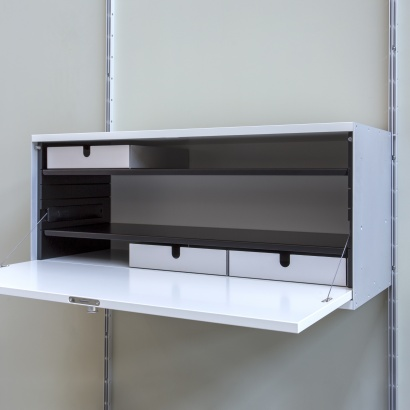 Floating cabinet with storage trays