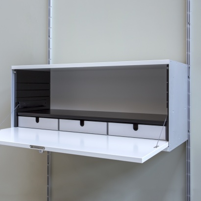 wall mounted locker cabinet with internal aluminium trays to divide space and organise