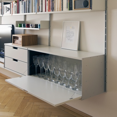 Sideboard with locker Cabinet, dining room or living room. Modular shelving systems. Designer Dieter Rams