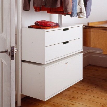 strong hanging rail shelves for clothes with locker Cabinet. Modular shelving system.Designer Dieter Rams