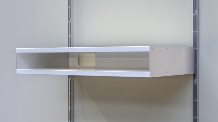 606 double shelf, has a hole in the back for cables, electronics.
