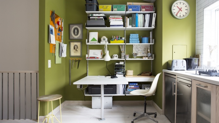 Above desk shelves. Modular shelving system home office for modern studio apartment. Wall mounted strong shelves for box-file storage, printer.  Designer Dieter Ram