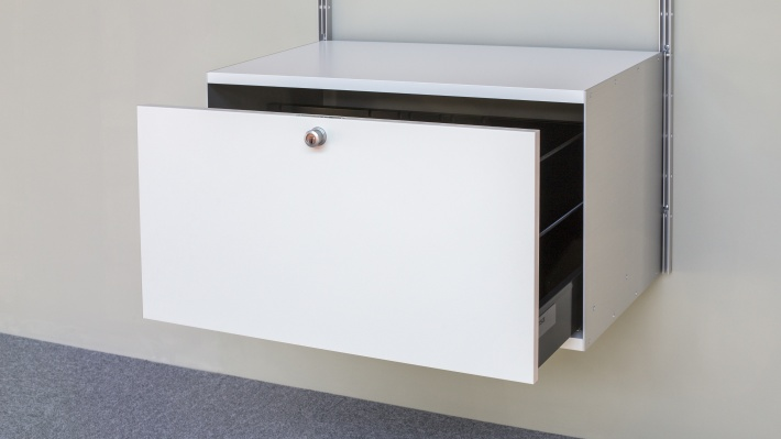 One drawer with lock, 1DL, 606 Cabinet. Half open