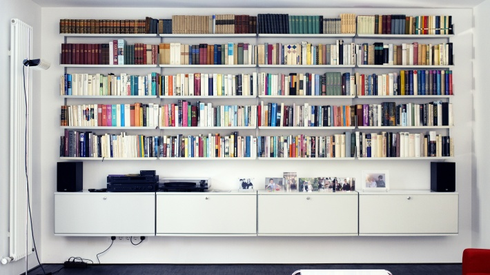 Large bookcase and sideboard locker cabinet, dining room or living room. Modular shelving systems. Designer Dieter Rams