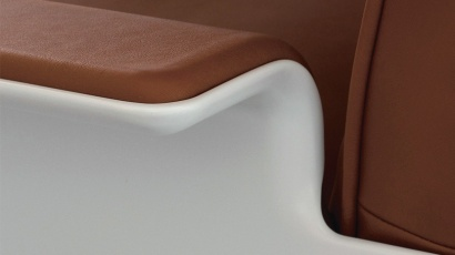 Armchair shell in off-white, leather, colour cinnamon